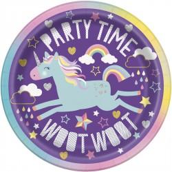 Piattini Unicorn Rainbow per feste a tema Unicorno