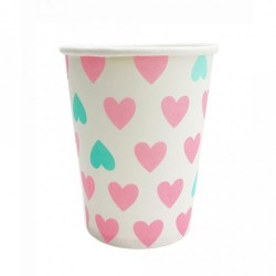 Pink and Mint Hearts Cups