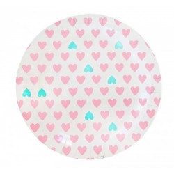 Pink and Mint Hearts Plates