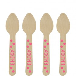 Wooden Mini Spoons Pink Dots