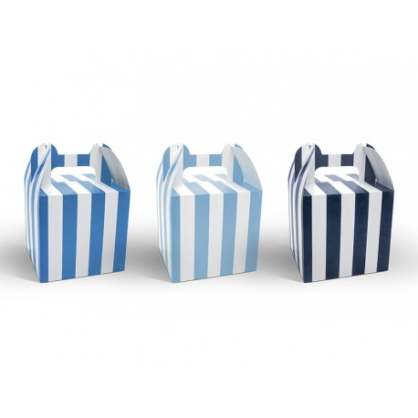 Blue Stripes Treat Boxes Set