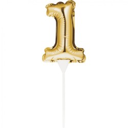Gold Foil Balloon 1 Cake Topper