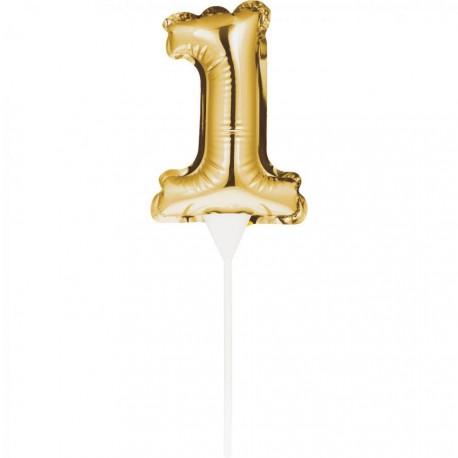 Gold Foil Balloon 1 Cake Topper