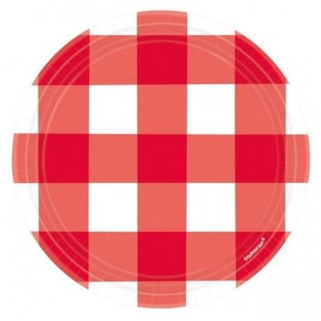 Red Gingham Dessert Plates - Picnic Party