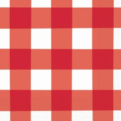 Red Gingham Lunch Napkins - Picnic Party