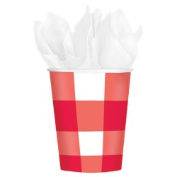 Red Gingham Cups