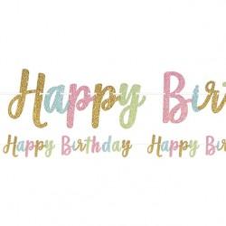 Festone Happy Birthday Glitter in Colori Pastello