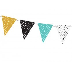 Teal, Black, Mustard and White Dots Flag Banner