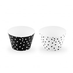 Cupcake wrappers bianco e nero a pois