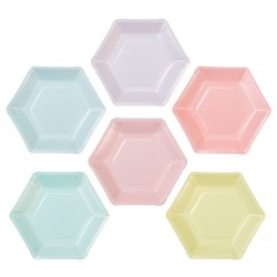 Assorted Pastel Colors Hexagonal Plates