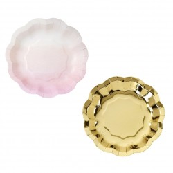 Pastel Pink and Foil Gold Plates Assorted