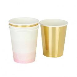 Bicchieri Sagomati Rosa e Oro Foil