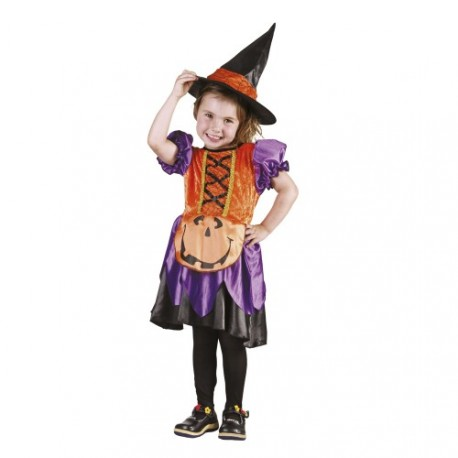 Little Witch Halloween Costume Purple and Orange 3-4 years