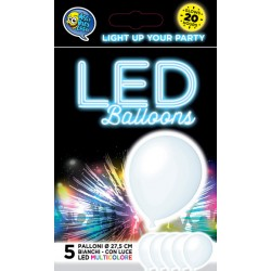 White balloons with multicolour LED