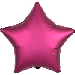 Satin Bright Pink Star Foil Balloon