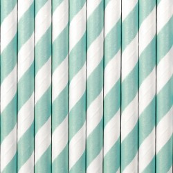 Mint Striped Paper Straws