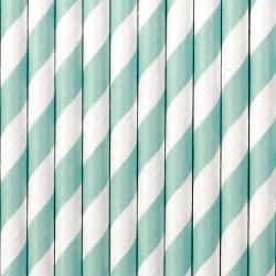 Cannucce in carta a righe menta e bianco
