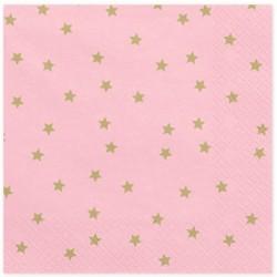 Tovaglioli rosa a stelline oro
