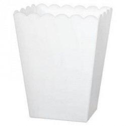 White Rectangular Scaloped plastic Candy Container