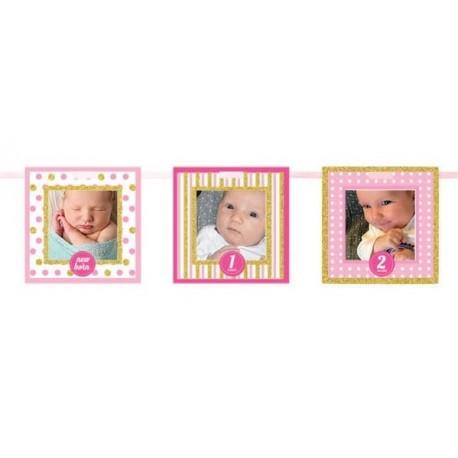 1st Birthday Pink Frames Glitter