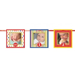 1st Birthday Multicolor Frames Glitter