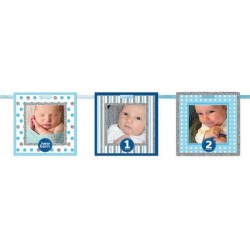 1st Birthday Blue Frames Glitter