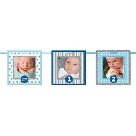 1st Birthday Blue Frames Glitter