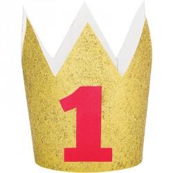 Coroncina 1 Anno Glitter Oro e Rossa