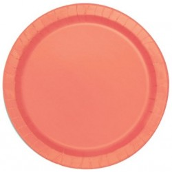 Coral Paper Dinner Plates 16pc