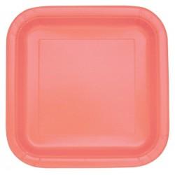 Coral Paper Square Dessert Plates 16pc