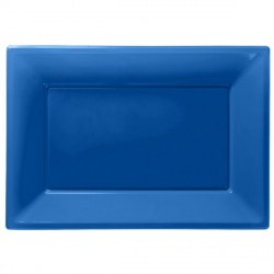 Blue Plastic Serving Platters 3pc