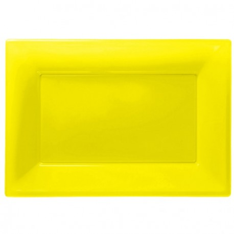 Yellow Plastic Serving Platters 3pc