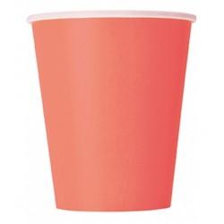 Bicchieri in carta colore corallo 14pz