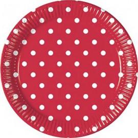 Red Dots Paper Dessert Plates