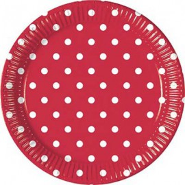 Red Dots Paper Dessert Plates