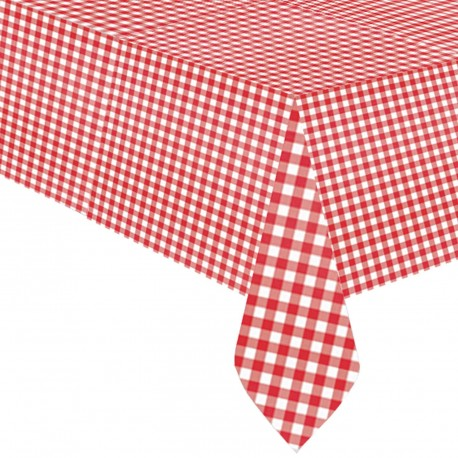 Red and White Gingham Plastic Tablecover