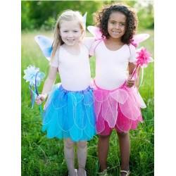 Costume Fatina Azzurro o Rosa con gonna, ali e bacchetta