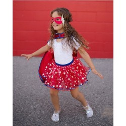 Superheroine Fancy Dress Set Tutu/Cape/Mask 4 - 7 years