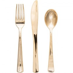 Metallic Gold coloured Assorted Cutlery 24pc