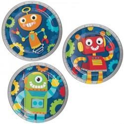 Piattini Festa Robots - 3 modelli assortiti
