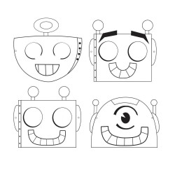 Maschere da colorare Robot 6pz