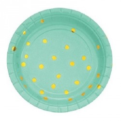 Mint Green with Golden Dots Dessert Plates