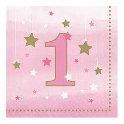 Little Star Girl First Birthday Lunch Napkins
