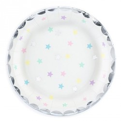 Silver Foil and Stars Dessert Plates
