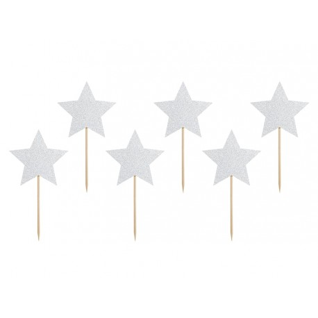 Silver Glittery Stars Toppers - 6 pieces