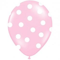 Palloncini rosa a pois bianco 5pz