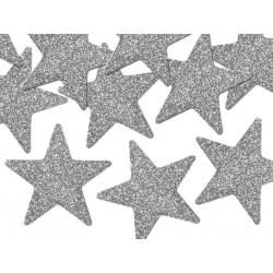Glittery decorations Star Silver