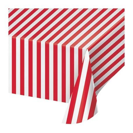 Tovaglia Plastica Circus Party a righe rosse