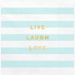 Tovaglioli Live Laugh Love a righe menta
