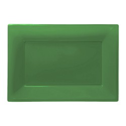 Green Plastic Serving Platters 3pc